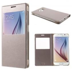 Atverčiamas odinis dėklas su langeliu - auksinis (Galaxy S6)