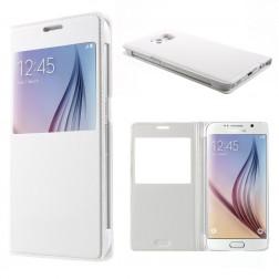 Atverčiamas odinis dėklas su langeliu - baltas (Galaxy S6)