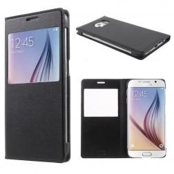 Atverčiamas odinis dėklas su langeliu - juodas (Galaxy S6)