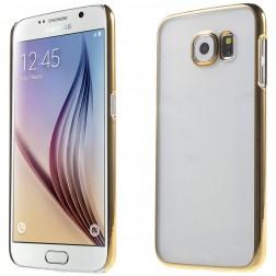 Plastikinis skaidrus dėklas  - auksinis (Galaxy S6)