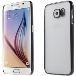 Plastikinis skaidrus dėklas  - juodas (Galaxy S6)