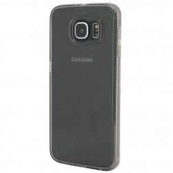 Plastikinis dėklas su kieto silikono rėmu - skaidrus / pilkas (Galaxy S6)
