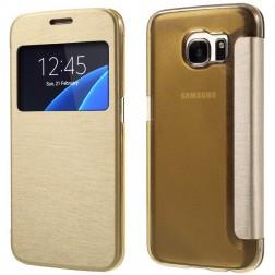 """Atverčiamas """"View Window"""" dėklas - auksinis (Galaxy S7)"""