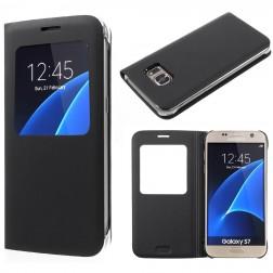 Atverčiamas dėklas su langeliu - juodas (Galaxy S7)