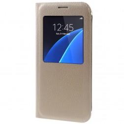 Atverčiamas dėklas su langeliu - auksinis (Galaxy S7)