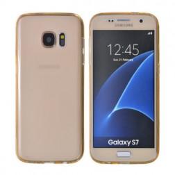Pilnai dengiantis TPU skaidrus dėklas - šviesiai rudas (Galaxy S7)