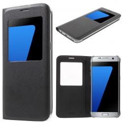 Atverčiamas dėklas su langeliu - juodas (Galaxy S7 Edge)