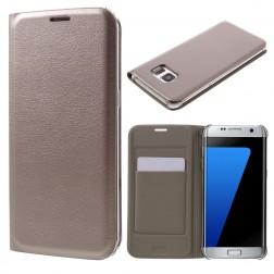 """""""Smart Wallet"""" atverčiamas dėklas - auksinis (Galaxy S7 Edge)"""