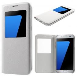 Atverčiamas dėklas su langeliu - baltas (Galaxy S7 Edge)