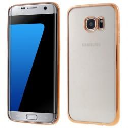 Silikoninis skaidrus dėklas, auksinis (Galaxy S7 edge)