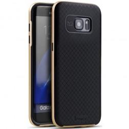 """""""IPAKY"""" kieto silikono (TPU) dėklas - juodas / auksinis (Galaxy S7 Edge)"""