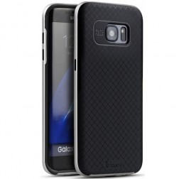 """""""IPAKY"""" kieto silikono (TPU) dėklas - juodas / sidabrinis (Galaxy S7 Edge)"""