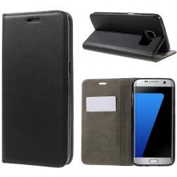 Solidus atverčiamas odinis dėklas - juodas (Galaxy S7 Edge)