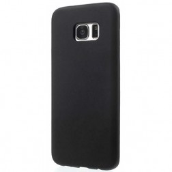 Kieto silikono (TPU) matinis dėklas - juodas (Galaxy S7 edge)