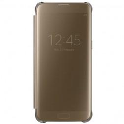 """""""Samsung"""" Clear View Cover atverčiamas dėklas - auksinis (Galaxy S7 Edge)"""