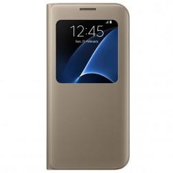"""""""Samsung"""" S View Cover atverčiamas dėklas - auksinis (Galaxy S7 Edge)"""