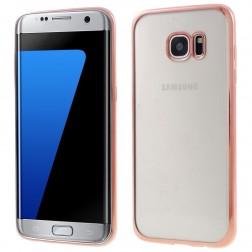 Silikoninis skaidrus dėklas, rožinis (Galaxy S7 edge)