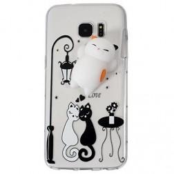 """""""Squezy"""" Cat kieto silikono (TPU) dėklas - skaidrus (Galaxy S7 Edge)"""
