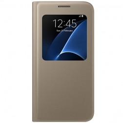 """""""Samsung"""" S View Cover atverčiamas dėklas - auksinis (Galaxy S7)"""