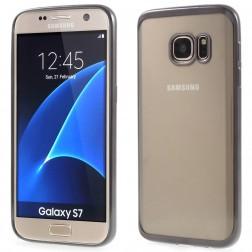 Silikoninis skaidrus dėklas, pilkas (Galaxy S7)