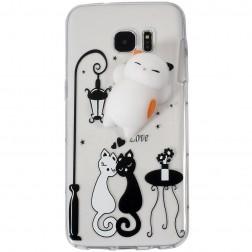 """""""Squezy"""" Cat kieto silikono (TPU) dėklas - skaidrus (Galaxy S7)"""