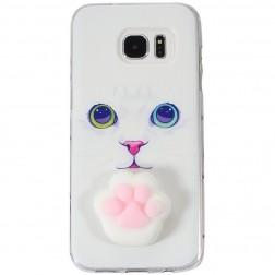 """""""Squezy"""" Pėdutė kieto silikono (TPU) dėklas - baltas (Galaxy S7)"""