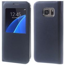 Atverčiamas dėklas su langeliu - tamsiai mėlynas (Galaxy S7)