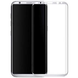 """""""Calans"""" 9H Tempered Glass pilnai dengiantis apsauginis ekrano stiklas 0.2 mm - sidabrinis (Galaxy S8+)"""