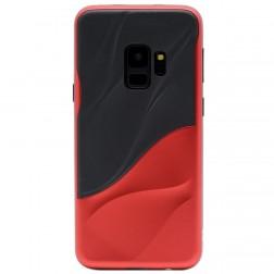 """""""3D"""" Wave Pattern dėklas - juodas / raudonas (Galaxy S9)"""