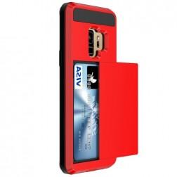 """""""Sliding"""" Card Holder dėklas - raudonas (Galaxy S9)"""