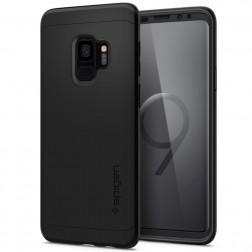 """""""Spigen"""" Thin Fit 360 plastikinis dėklas - juodas + apsauginis ekrano stiklas (Galaxy S9)"""