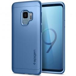 """""""Spigen"""" Thin Fit 360 plastikinis dėklas - mėlynas + apsauginis ekrano stiklas (Galaxy S9)"""