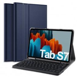 """Atverčiamas dėklas su klaviatūra - mėlynas (Galaxy Tab S7 11"""")"""