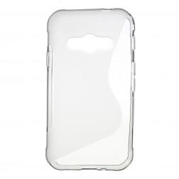 Kieto silikono (TPU) dėklas - skaidrus, pilkas (Galaxy Xcover 3)
