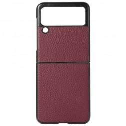 """Deluxe Leather"" dėklas - bordo (Galaxy Z Flip3)"