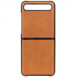 """""""Slim Leather"""" dėklas - šviesiai rudas (Galaxy Z Flip)"""