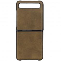 """""""Slim Leather"""" dėklas - tamsiai rudas (Galaxy Z Flip)"""