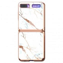 """""""GKK"""" Marble plastikinis dėklas - baltas (Galaxy Z Flip)"""