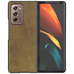 """""""Slim Leather"""" dėklas - tamsiai rudas (Galaxy Z Fold2)"""