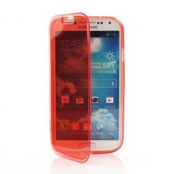 Atverčiamas silikoninis dėklas - raudonas, skaidrus (Galaxy S4)