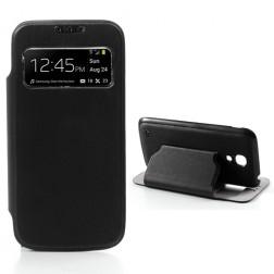 """Atverčiamas """"S-View"""" stiliaus dėklas - juodas (Galaxy S4 mini)"""