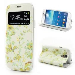 """Atverčiamas gėlėtas """"S-View"""" stiliaus dėklas - geltonas (Galaxy S4 mini)"""