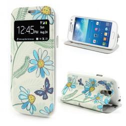 """Atverčiamas gėlėtas """"S-View"""" stiliaus dėklas - mėlynas (Galaxy S4 mini)"""