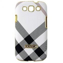 """""""Burberry"""" stiliaus dėklas - baltas (Galaxy S3)"""