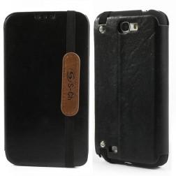"""""""S-Ch"""" atverčiamas odinis dėklas - juodas (Galaxy Note 2)"""