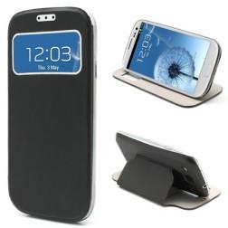"""Atverčiamas """"S-View"""" stiliaus dėklas - juodas (Galaxy S3)"""