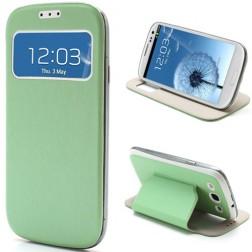 """Atverčiamas """"S-View"""" stiliaus dėklas - žalias (Galaxy S3)"""