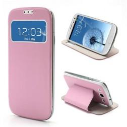 """Atverčiamas """"S-View"""" stiliaus dėklas - rožinis (Galaxy S3)"""
