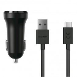 """Sony"" Dual USB automobilinis įkroviklis - juodas + Type-C USB laidas (5V/2.4A, 5V/2.4A)"