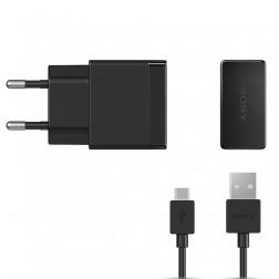 """""""Sony"""" Quick Charger sieninis įkroviklis (1.5 A) - juodas + micro USB laidas"""